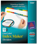 Clear Label Dividers with color Tabs 12-Tab Letter -  5 Sets