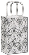 Damask Shoppers 5 1/4 x 3 1/2 x 8 1/4  -  100 Bags