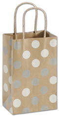 Silver and White Dots Kraft Shopper 5 1/4 x 3 1/2 x 8 1/4  -  100 Bags