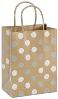 Silver and White Dots Kraft Shopper Bag 8 1/4 x 4 3/4 x 10 1/2  -  100 Bags