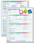 Spanish Two-Sided Registration and History Form - 3 pads of 100 Forms each