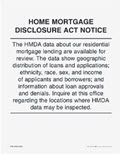 Home Mortgage Disclosure Act Notice - 1 Lobby Poster