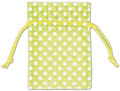Polka Dot Organdy Fabric Bags, White Dots on Lime Green, 3