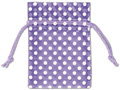 Polka Dots Organdy Fabric Bags, White Dots on Purple, 3