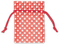 Polka Dot Organdy Bags, White Dots on Red, 3