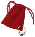 Velveteen Drawstring Pouches, Red, 2