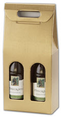 Wine Bottle Carriers 7 x 3 1/2 x 15 3/4 Gold 2 bottle - 30 Carriers