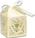 Decorative Favor Boxes 2 x 2 x 2 3/4 Ivory  -  25 Boxes