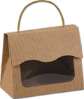 Kraft Stripes Gourmet Gift Totes 6 1/2 x 3 1/4 x 5 5/16