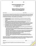 3-Part Notice of Privacy Practices HIPAA Acknowledgment - 100 forms