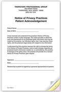 3-Part Notice of Privacy Practices HIPAA Acknowledgment - 5 pads of 25 forms each