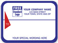 Blue w/ Red Triangle Small Mailing Labels, Roll - 250 Count
