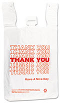T-Shirt Thank You Bag 12 X 7 X 13 14 Microns  -  500 Bags