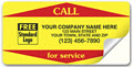 Weather-Resitant Vinyl 'Call for Service' Labels Yellow - 250 Count