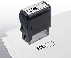 Self-Inking Stamp With Open Box Received - 1 Stamp