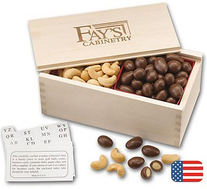Nut Filled Wooden Collectors Box - 12 boxes
