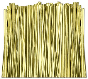 Gold Metallic Twist Ties, 4 inch - 2,000 ties