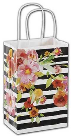 "Vibrant Floral Shoppers 5 1/4 x 3 1/2 x 8 1/4""  -  100 Bags"