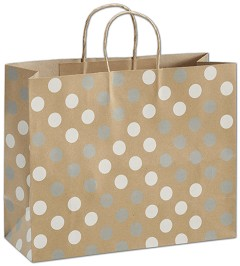 Silver and White Dots Kraft Shopper Bag  -  100 Bags