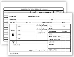 "Optometry Rx Record Card, Two - Sided, 4"" x 6"" - 100 cards"
