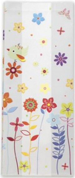 "Patterned Cello Bags, Sweet Tweet, 4"" x 2 1/2"" x 9 1/2"" - 100 Bags"