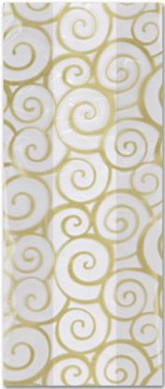 "Patterned Cello Bags, Euro Swirl Gold, 5"" x 3"" x 11 1/2"" - 100 Bags"