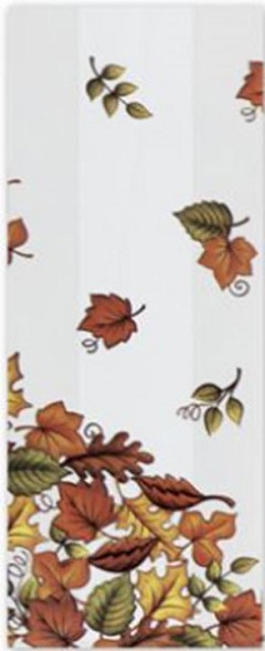 "Patterned Cello Bags, Leaf Pile, 5"" x 3"" x 11"", 100 Bags"
