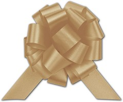 Gold Satin Perfect Pull Bows, 18 Loops, 4 inch - 50 Bows
