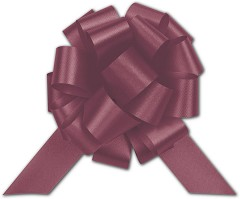 Burgundy Satin Perfect Pull Bows, 18 Loops, 4 inch -  50 Bows
