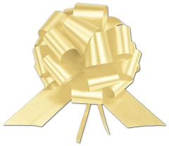 Yellow Satin Perfect Pull Bows, 18 Loops, 4 inch - 50 Bows