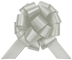 Silver Satin Perfect Pull Bows, 20 Loops, 5 1/2 - 50 Bows