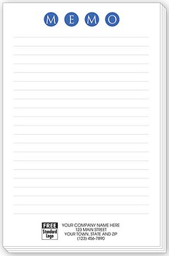 "Personalized Large Notepads ""MEMO"" with Lines - 500 Sheets"