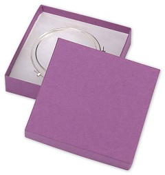 Purple Jewelry Boxes, 3 1/2 x 3 1/2 x 7/8 - 100 Boxes