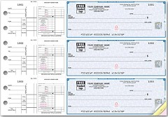 High Security 3 On A Page Checks, Payroll and Disbursement, Quantity 250 Checks