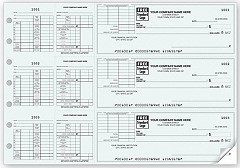 3-On-A-Page Business Size Payroll Checks, with With End Stub and Corner Vouchers, Quantity 250