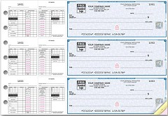 High Security 3 On A Page Checks, Double Side Tear Payroll Vouchers, Quantity 250 Checks