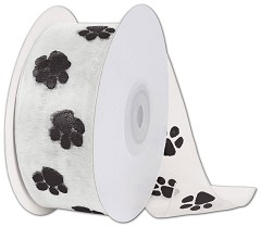 "Black Paws on White Ribbon, 1 1/2"" x 25 Yds - 1 Roll"
