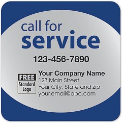 Call for Service Reminder Label Silver and Blue - 250 Labels