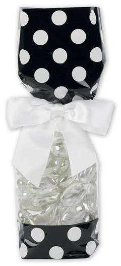 "Cello Bags with Solid Color Band, Black and White, 2 5/8"" x 1 7/8"" x 10 3/4"", 100 Bags"