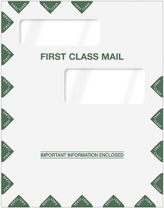 Double Window First Class Envelope 9 x 11 1/2  -  100 Envelopes