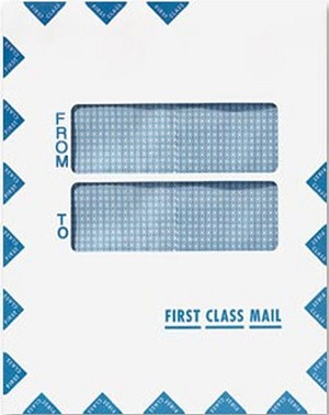 "Double Window First Class Mail Envelope, 9 1/2"" x 12"", 100 Envelopes, Peel & Seal"