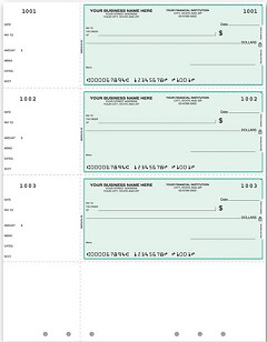 3 to a Page Laser Wallet Checks, Lined, Hole-punched, Quantity 250