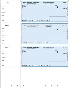 3 to a Page Laser Wallet Check, Unlined, Hole-Punched, Quantity 250