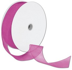 "Sheer Organdy Fuchsia Ribbon, 1 1/2"" x 100 Yds - 1Roll"