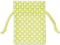 "Polka Dot Organdy Fabric Bags, White Dots on Lime Green, 3"" x 4"" - 12 Bags"