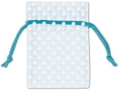 "Polka Dots Organdy Fabric Bags, White Dots on Light Blue, 3"" x 4"" - 12 Bags"