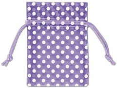 "Polka Dots Organdy Fabric Bags, White Dots on Purple, 3"" x 4"", 12 Bags"