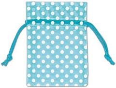 "Polka Dots Organdy Fabric Bags, White Dots on Teal, 3"" x 4"", 12 Bags{"