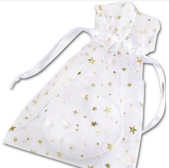 "Organza Fabric Bags, Gold Stars on White, 5"" x 7"", 12 Bags"