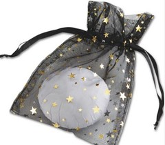 "Organza Fabric Bags, Gold Stars on Black, 5"" x 7"", 12 Bags"